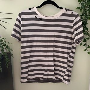 PacSun distressed stripped t-shirt